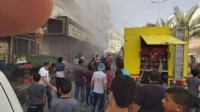 الدفاع المدني يسيطر على حريق اندلع في مخبز اليازجي غرب مدينة غزة